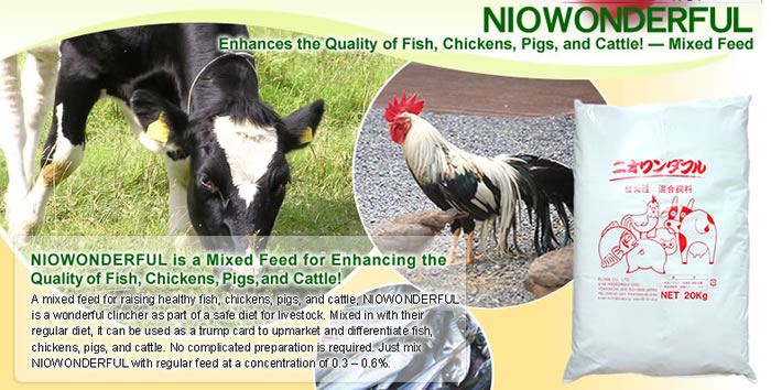 Natural Food Supplement [NIOWONDERFUL] This natural food supplement can be used as a trump card when upmarketing and differentiating your fish, chickens, pigs, cows, etc. \r\n No complicated preparation is required. Just mix NIOWONDERFUL with regular feed at a concentration of 0.3 ? 0.6%.